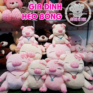 Gia đình heo bông (trắng & hồng) cả 4 size